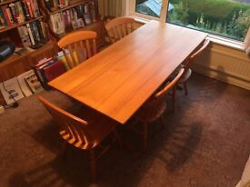 "Large solid refectory dining table + 5 chairs (72""x31"")"