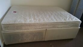 Double bed with great quality mattress. Just 1 year used, the mattress also has a substrate.