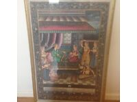 STUNNING HAND PAINTED FABRIC PRINT - WITH FANTASTIC INTRICATE DETAIL (EXCELLENT CONDITION)