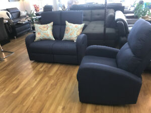Hometown Furniture --- Fabric recliner loveseat and chair