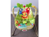 Fisher price rainforest chair with vibrating option.