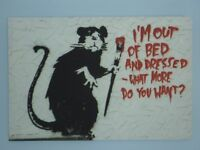 "Banksy art canvas - ""I'm Out of Bed..."". Excellent condition"