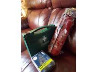 Fire extinguisher, first aid kit. Bulp kit