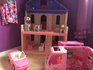 Barbie house, camper, mustang and furniture