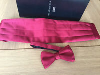 MARKS & SPENCER RED SATIN CUMABAND AND MATCHING BOW TIE
