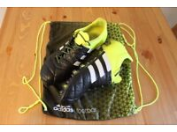 adidas ACE 15.1 FG/AG Leather Football Boots Size UK 9.5 - core black / solar yellow