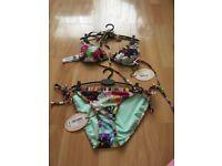 Ted baker floral swirl matching bikini size 1