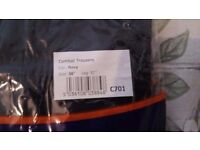 """3 pairs navy work trousers brand new in packet 38""""w31""""l"""