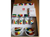Set of 4 illy Designer Art Italian Cappuccino Cups and Saucers Boxed As New From Milan Expo 2015