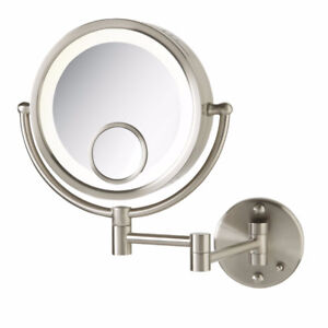 Jerdon Makeup Wall Mount Mirror,10X Optics,15X Spot