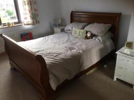 Solid wood king size sleigh bed