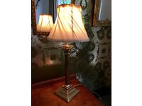 Vintage Laura Ashley Solid Brass Column Lamp