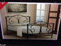 4FT (3/4 DOUBLE) BLACK METAL BED FRAME WITH CRYSTAL FINIALS - NEVER ASSEMBLED