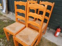 4 pine ladder back and wicker chairs