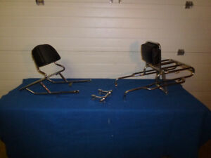 2 Vintage Universal Luggage Racks and 1 set Handlebar Risers