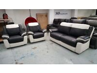 Ex Display ScS Leo Black & White Leather 3+1+1 Seater Sofas **CAN DELIVER**