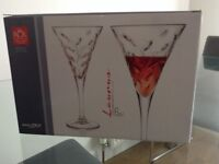 Six wine glasses, brand new and boxed