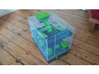 Hamster Cage. 50cm wide x 36cm deep x 45cm high. Includes nest box, water bottle and food bowl.