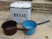 Vintage retro white Enamel metal Bread Bin and kitchen pans/pots 20's 30's 40