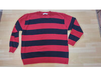 NWOT Mens Stripped Red & Black (Kurt Cobain, Nirvana) Jumper by Wicked Fun - Size XXL - Fancy Dress