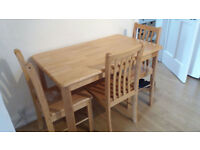 Pine Kitchen table and 3 chairs