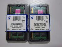 4GB 2X2GB kINGSTON Laptop Memory 1.8v