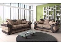 New Dino 3+2 seater sofa & armchair, fabric & faux leather black grey brown