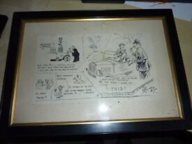 Lovely old vintage quirky comical artwork picture Motoring theme this original cartoon style sketch