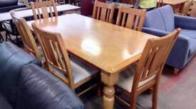 Hardwood farmhouse dining table and X 6 chairs