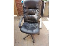 Black leather office chair (used, good condition)