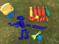 Sand Toys: bucket, moulds and skittles