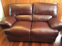 2 Seater Sofa & Armchair Leather, Brown, Recliners