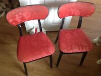 Pair of red, vintage 60's chairs.
