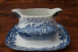 Myotts Country Life 'English Scences' fused vintage double spout bone china gravy boat