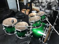 Mapex Meridian 6 piece drum kit in green sparkly finish with hardware, cases and throne