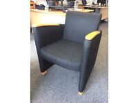 x2 Reception Seating Chairs, Black w/ Brown Wood