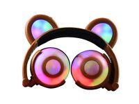 Led flashing cute bear ear headphone headset for gifts