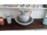 Large Stone Effect Jug and Bowl