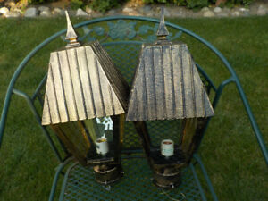 PAIR OF METAL POST MOUNTED BRAS LANTERN