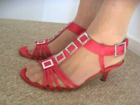 Cerise Pink Satin Evening Wedding Party Shoes Sandals 5E UK
