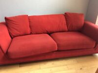 Sofa, curtains, rug, floor lamp and picture