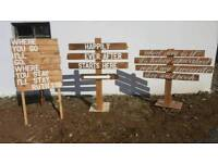 Shabby chic rustic vintage wedding signs for hire