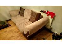 Large, beige/brown, 3 seater sofa