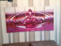 Canvas print-water drop and ripple 5 panel