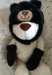 Black Teddy Winter Hat and Mitten Set