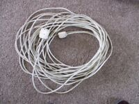 20 metres 3 core cable. White with plug and socket