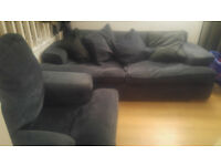 3 seater sofa and armchair set (navy blue)