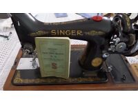 Antique Singer Sewing Machine in original case plus original accessories and instruction book