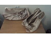 Womens stunning designer Satin Shoes and matching Bag used once