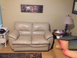 "Love seat, 21"" flat screen tv, 2 lamps."